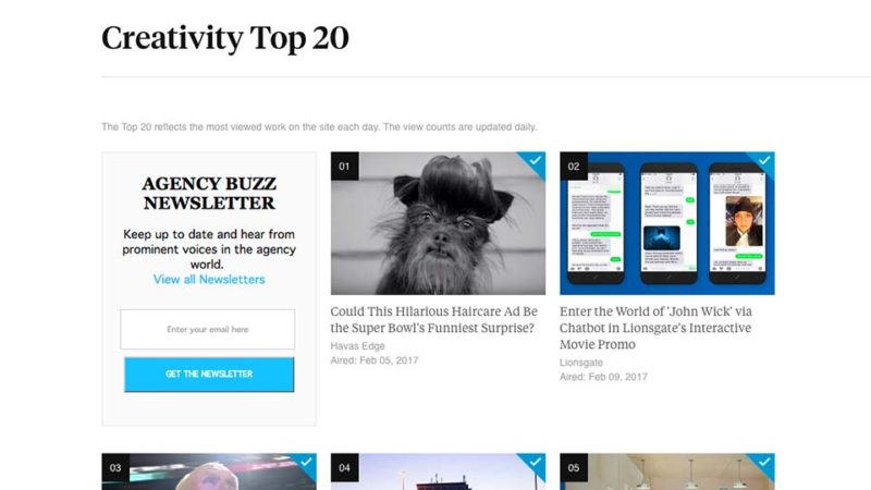 Bryan Buckleys Hit Super Bowl Ad Is The Number One Most Watch Spot Of Day Over At Creativity Online As You May Know Updates Their Top 20
